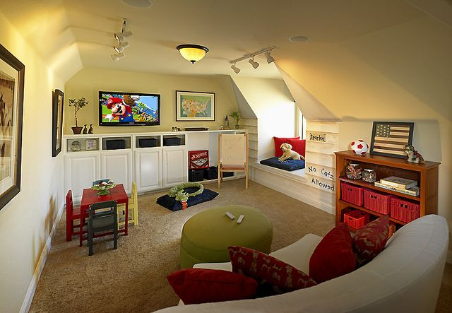Kids Playroom or Workout Room by Grand Homes Inc, via Flickr