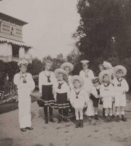 Grand Duchesses, Olga, Maria, Anastasia and Tatiana and Alexei with their cousins, Lower Dacha in Peterhof, 1908