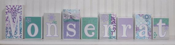 These custom designed name block letters are the perfect addition to your home. They also make unique personalized gifts for baby showers and birthdays. I take great care in customizing and detailing each block to match any child's or baby's bedding, room colors, or theme. I look forward to working with you to turn your child's name into a creative work of art