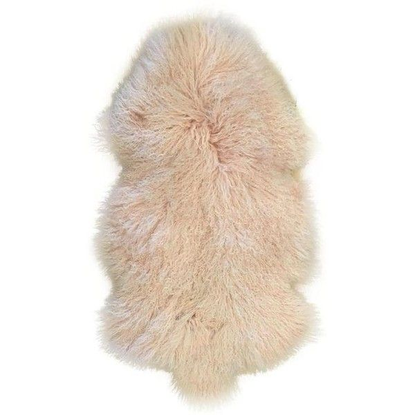 """Tibetan Lamb Fur Rug - 2'4"""" X 4' ($198) ❤ liked on Polyvore featuring home, rugs, light pink rug, light pink area rug, fur rug, pale pink rug and blush pink rug"""