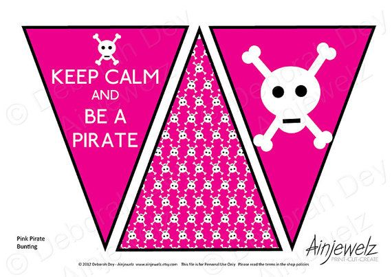 Keep Calm and Be A Pirate Pink Bunting INSTANT DOWNLOAD #CRAFTfest