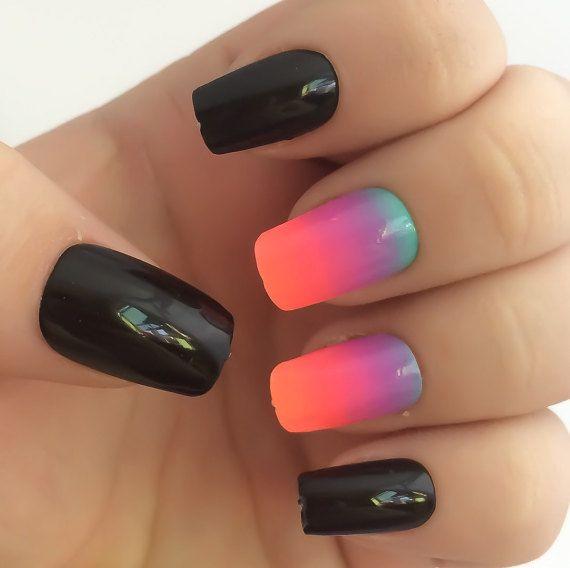 Ombre Fake Nails Bright Nail Polish Black Nail by LetThemSparkle