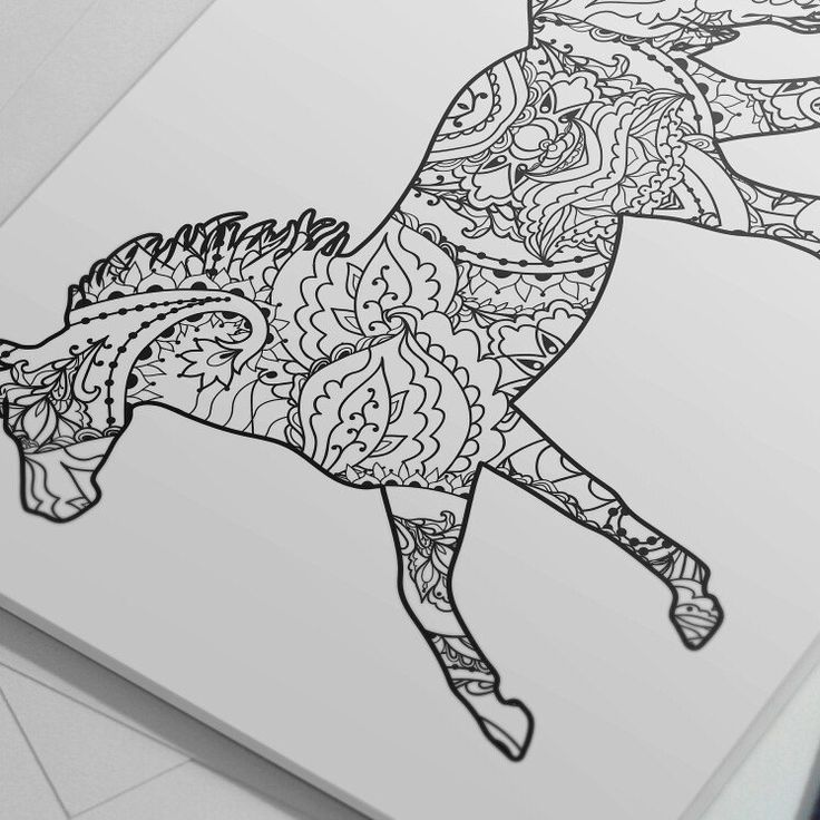 3 Animal Coloring Pages For Adults and For Kids, Horse ...