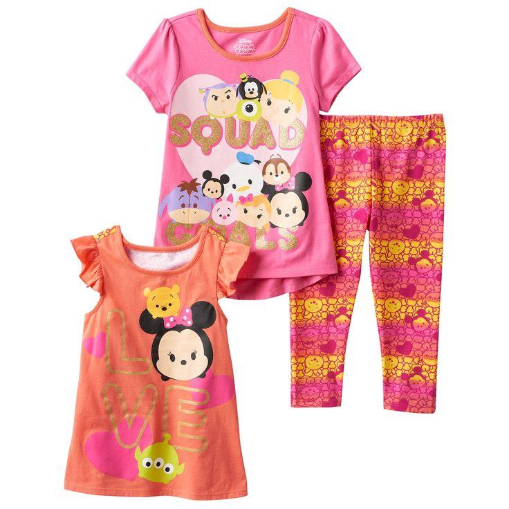 "Disney's Tsum Tsum Girls 4-6x ""Squad Goals"" Tee, Tank Top & Leggings Set, Girl's, Size: 6X, Pink"
