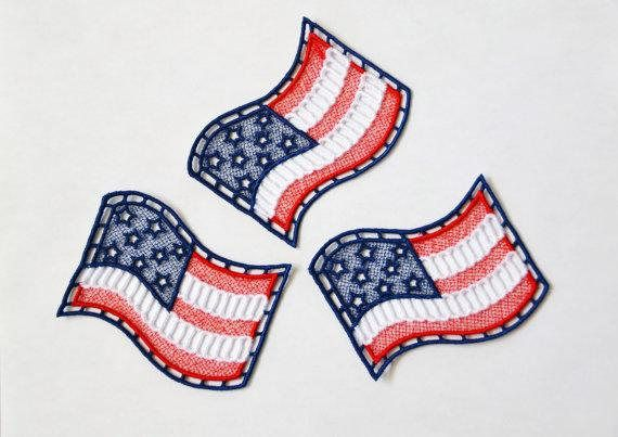 Patriotic American Flag Embroidered Freestanding Lace   This freestanding lace American flag is the perfect embellishment for denim, sweater knits, and any medium to heavy weight fabrics which work well with the red, white, and blue.   https://www.etsy.com/listing/400278785/american-flag-lace-stars-and-stripes  #flag #lace #embroidery #embellish #patriotic #supplies #red #white #blue #stars #stripes
