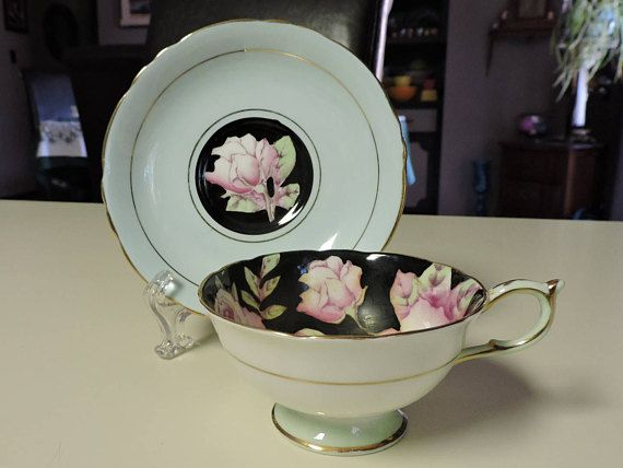 PARAGON Cup and Saucer Set Roses & Black Vintage Bone China