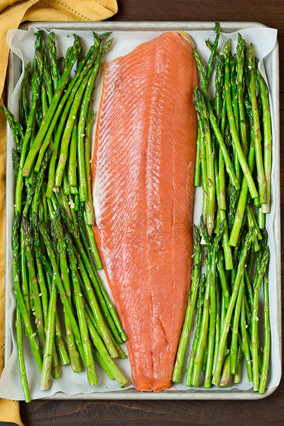 One Pan Roasted Lemon Pepper Salmon and Garlic Parmesan Asparagus   Cooking Classy