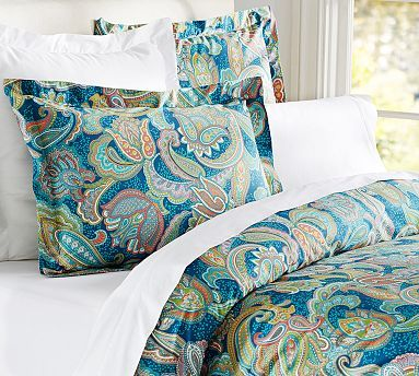 Ana Paisley Duvet Cover and Sham: Pottery Barn. I am going with this pattern in my bedroom, except that I purchased the table runner (to put on my dresser) and dinner napkins (to make 20 X 20 in. throw pillow covers).  I prefer the kitchen items in this pattern because the colors are more saturated and the fabrics are richer.