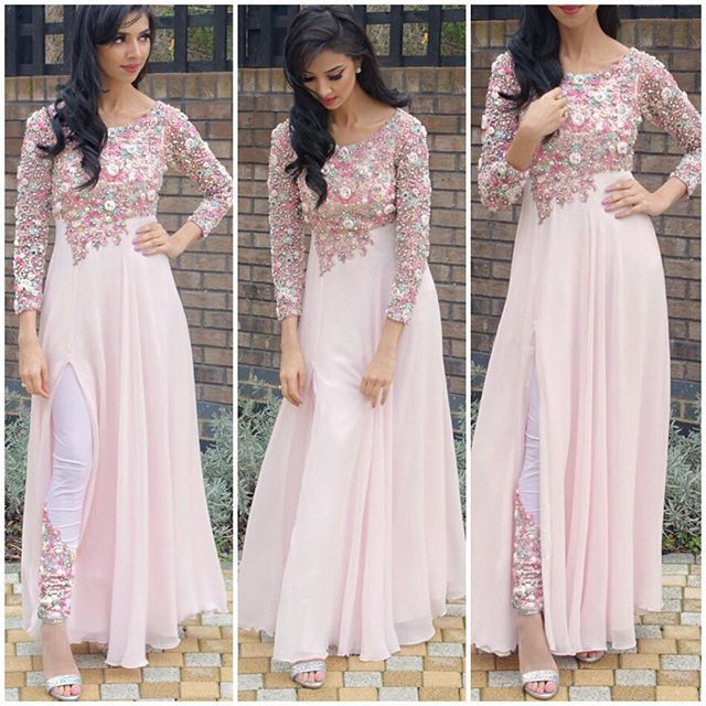 #pink #floral # embroidery #ethnic #cuts #white #kurti
