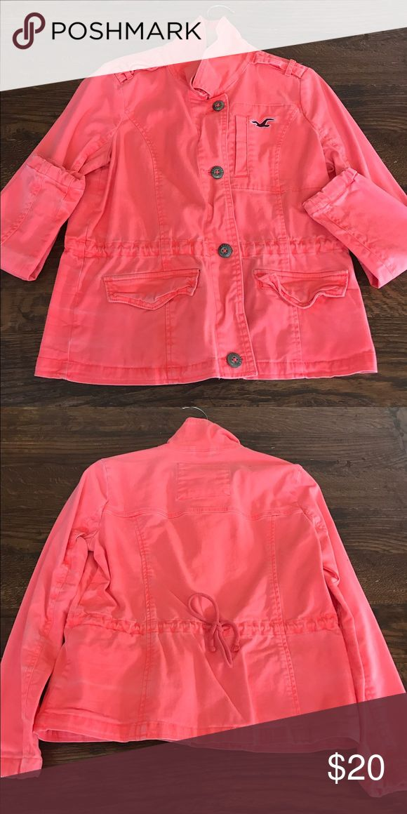 Hollister Jacket Really cute coral Hollister jacket with tie in the back. Hollister Jackets & Coats