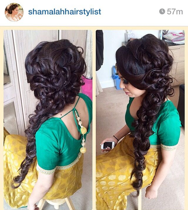 In LOVE with the big beautiful braid. Perfect for Gaye Holud / Mendhi day for a desi wedding! Love the curls added to the braid!
