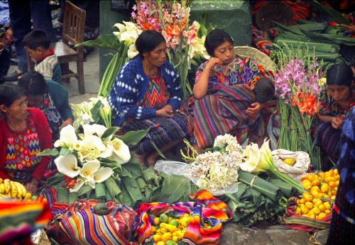 Flower market in Chichicastenango, Guatemala, 1991