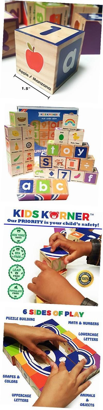 Blocks Tiles and Mats 145931: Abc Blocks Wooden – Bilingual Educational Toy Alphabet Blocks For Toddlers. -> BUY IT NOW ONLY: $36.82 on eBay!