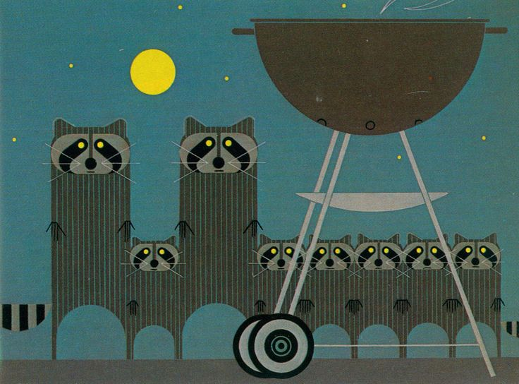 Charley Harper and the Raccoons   The way Harper turns everyday objects into abstract art using simple shapes amazes me..