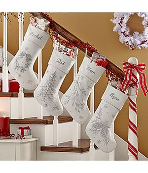 *New*–White Christmas Beaded Velvet Stocking Our elegantly beaded stocking captures the magic of a white Christmas. Soft 100% polyester. Personalize with any name up to 9 characters. http://kittykatkoutique.com/new-personalized-christmas-stockings-2015/