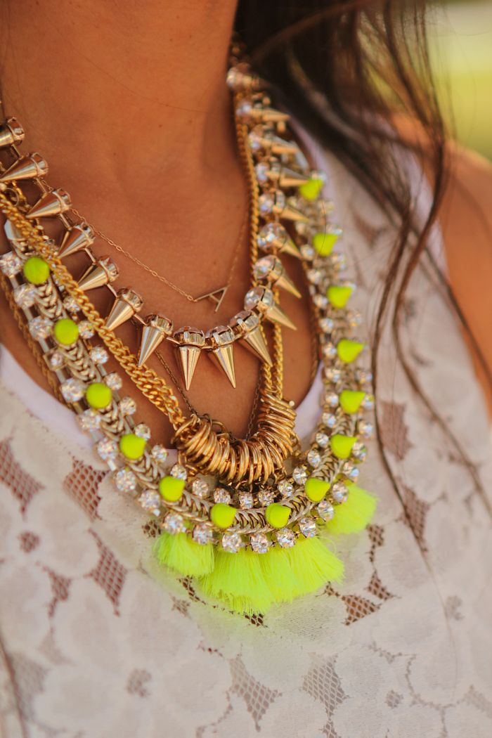 layer those necklaces //: Spikes, Neon Necklaces, Statement Necklaces, Colors, Layered Necklaces, Jewelry, Accessories, Mixed Metals, Neon Yellow