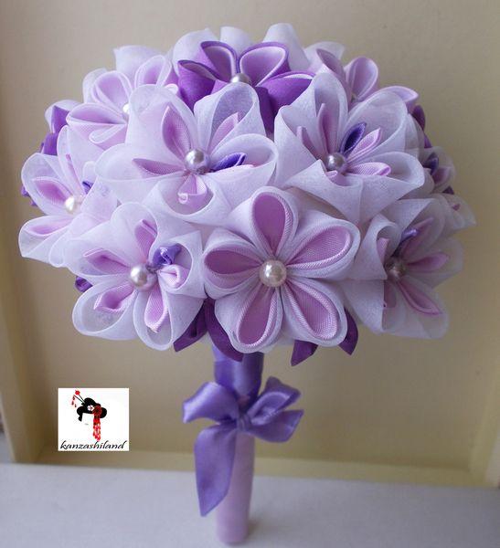 otros ramo de flores japonesas kanzashi para novia hecho a mano por