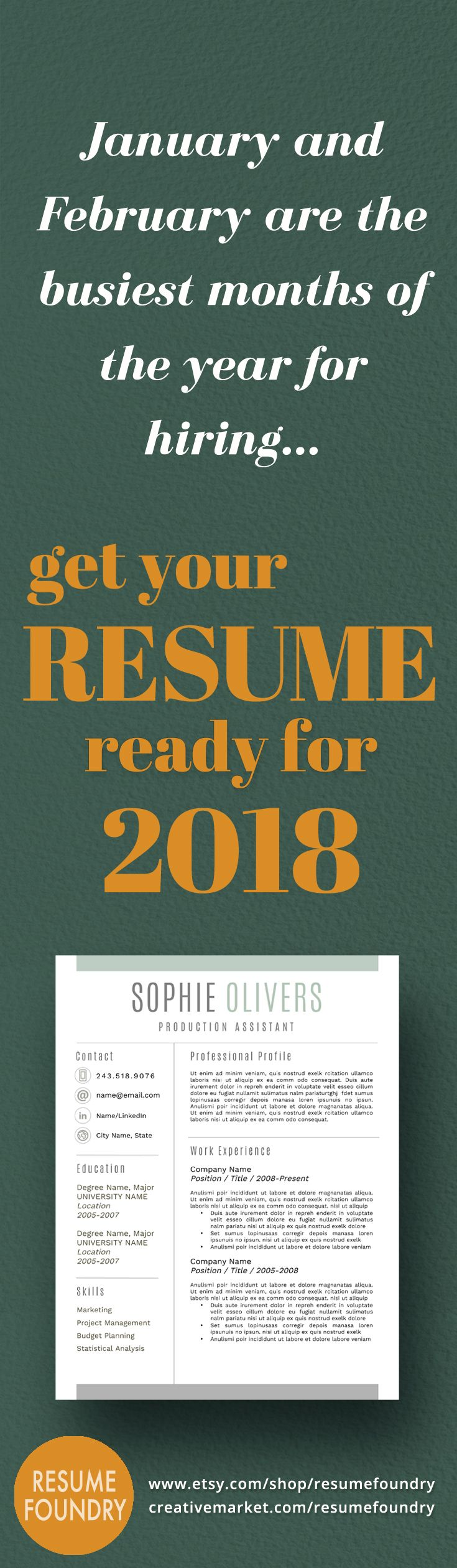 January and February are the busiest months of year for hiring. Update your resume today using a professional resume design. Instant download, use with Microsoft Word.