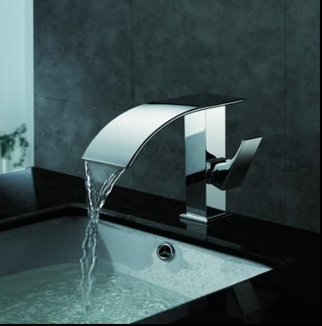 Contemporary Waterfall Bathroom Sink Tap Chrome Finish T8007