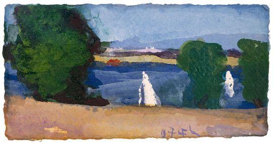 Klaus Fußmann, Sommerliche Landschaft mit Seglern, 2007
