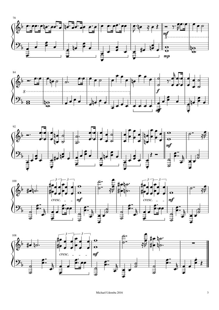 Sheet music made by Michael Udemba for Piano