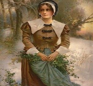 Pilgrim woman wearing the clothing of her day