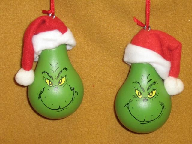 Grinch Lightbulb.  paint light bulb grinch green, then draw out face w/pencil lightly paint yellow eyes, then use fine tip permanent marker to finish off face. Dollar store santa hats glued to top.