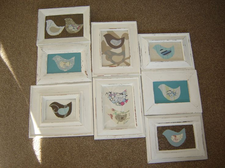 made from a collection of recycled frames that I had and no longer used.  The backgrounds are from  wallpaper samples and the birds from scraps of fabric.  I plan to glue the frames together and put on a backing board and then hang.  It was gonna be for our bedroom but now I am thinking maybe the lounge.