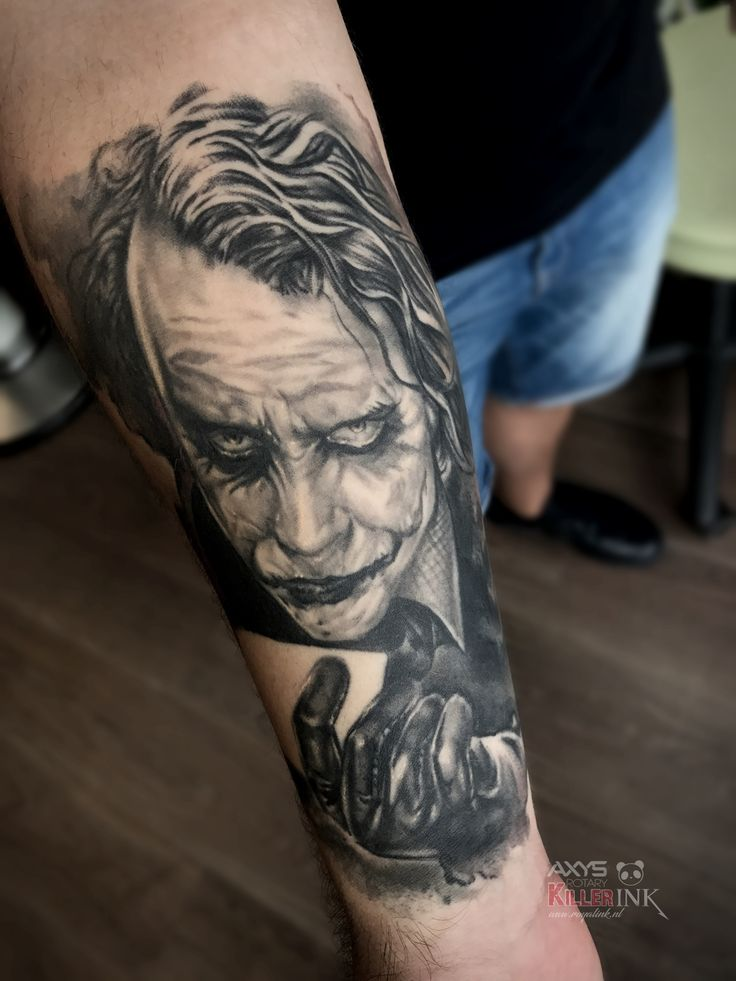 Joker badman hearh ledger tattoo by nick limpens royal ink