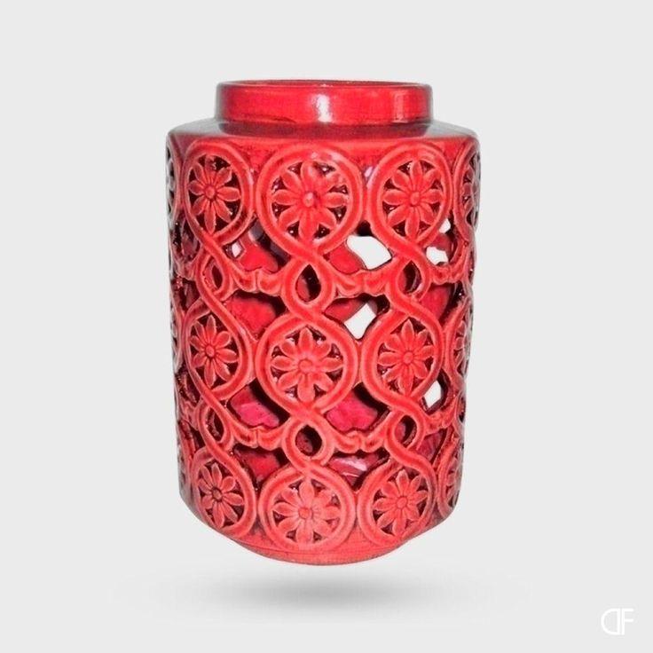 Zoom Lanterna Decorativa de Cerâmica Vermelha