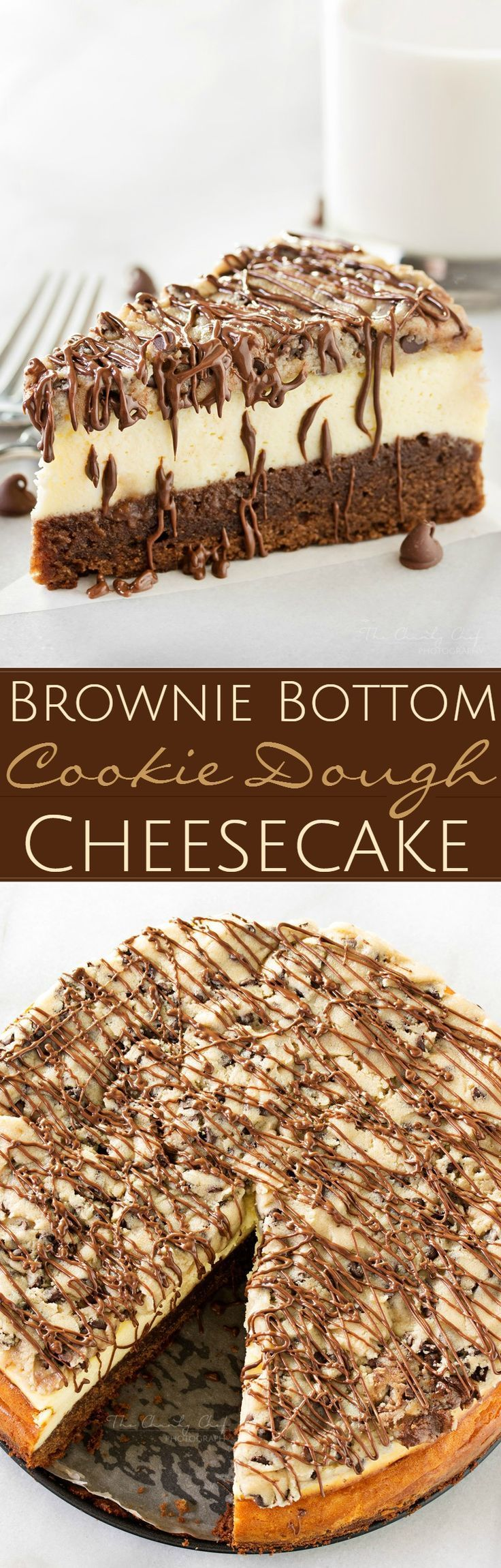 Brownie-Bottom-Cookie-Dough-Cheesecake This impressive, yet super easy, brownie bottom cookie dough cheesecake looks as fancy as any dessert you've had from a restaurant! The ULTIMATE cheesecake for the ULTIMATE dessert lover! http://thechunkychef.com