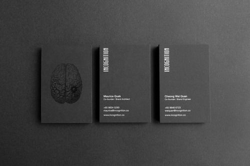 Incognition Business CardsIncognition is an up and coming brand consulting agency with a focus on the psychological aspects of branding. Based on a cognitive theory first proposed by Dr. Steve Bunce in 2006, which explains the act of unconscious thinking, the Incognition way of branding leverages on the stronger processing power of the unconscious.Incognition's visual identity is represented through a visual of a brain scan.