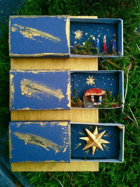Weihnachtsgeschichte in Streichholzschachteln / Christmas in match boxes