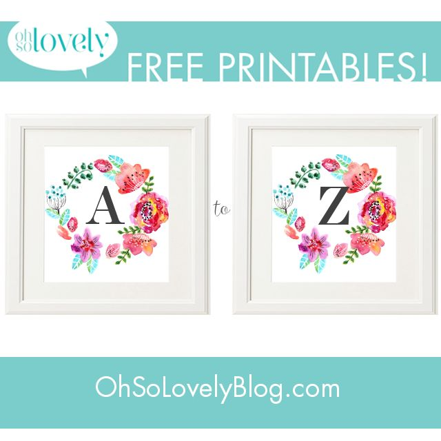 Oh So Lovely: FREEBIES  //  FREE FLORAL MONOGRAMS