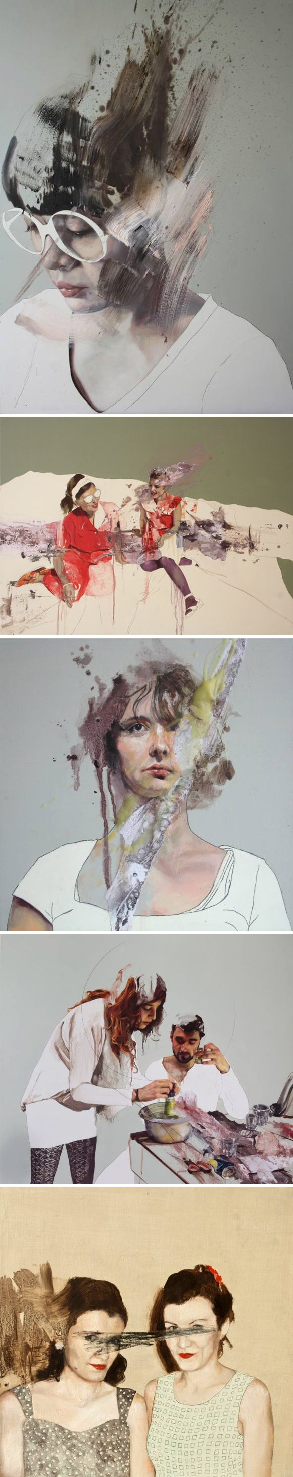 Gorgeous paintings… control and chaos in perfect harmony. This is the work of Italian-born, Berlin-based painter Jessica Rimondi. I love all of these pieces, but that first girl in the glasses? I'm smitten. Happy Friday to you.