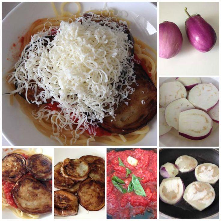 "Dalla tradizione catanese: Pasta alla Norma! Typical Catania traditional food: Pasta ""Norma""  with eggplant, fresh tomato and salty italian soft cheese"