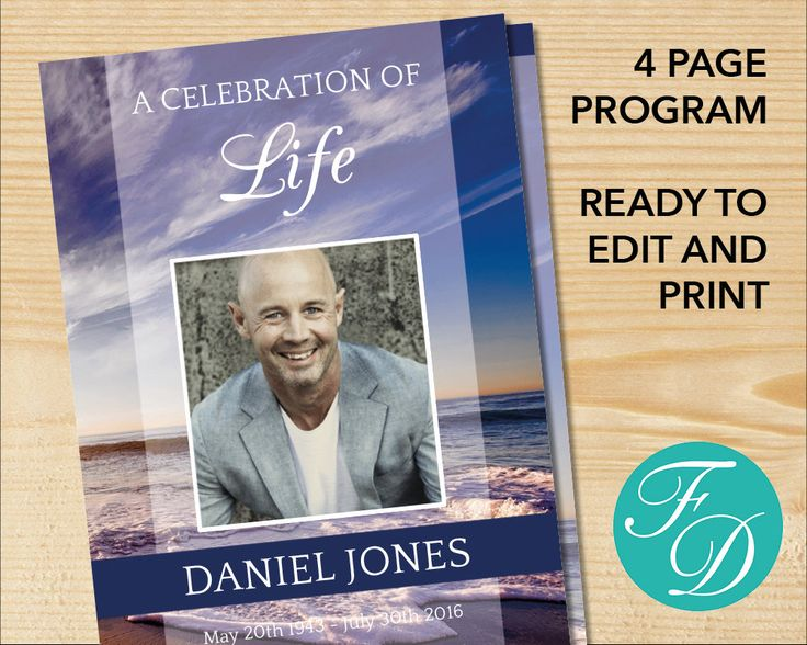 64 best Blue Funeral program Templates images on Pinterest - free printable memorial service programs