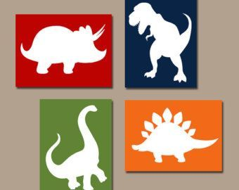 DIY: canvas covered in fabric. Lay white cut out of animal in top. Do first letter too.   awesome DINOSAUR Wall Art, Canvas or Prints Boy DINOSAUR Nursery Baby Boy Nursery Wall Art, Big Boy Bedroom Pictures, Boy Boy Artwork DINO Set of 4 by http://www.besthomedecorpics.us/boy-bedrooms/dinosaur-wall-art-canvas-or-prints-boy-dinosaur-nursery-baby-boy-nursery-wall-art-big-boy-bedroom-pictures-boy-boy-artwork-dino-set-of-4/