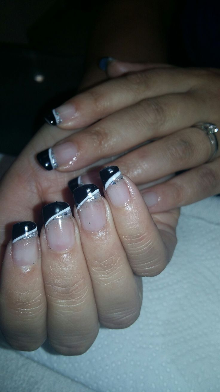 Natural acrylic with black,  white and glitter gelcolor