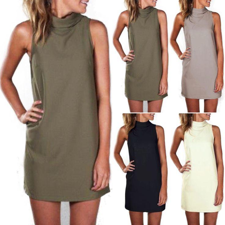 Women Casual Sleeveless Turtle High Neck Shift Blouse Mini Shirt Dress Sundress #Unbranded #Sundress #Casual