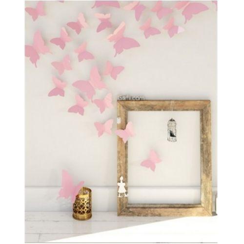 Fjärilar 3D effekt Rosa 12 stycken Väggdekor Dekor