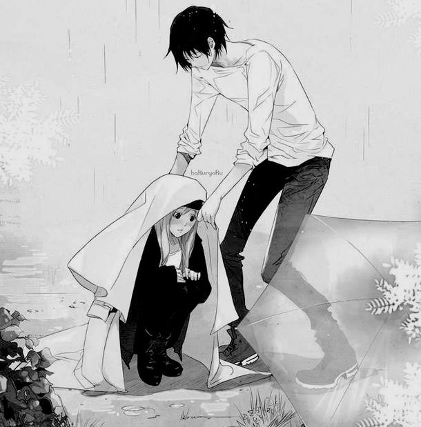 Anime Couple, Black And White, Boyfriend, Illustration