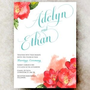 Red Floral Wedding Invitation - Country chic wedding invitation, printable wedding invitation, Teal wedding invitation