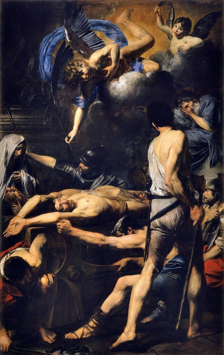 A Dark Painting From The Italian Baroque Showing Two Saints In Agony While Being Persecuted By Soldiers A Cherub H List Of Paintings Painting Baroque Painting
