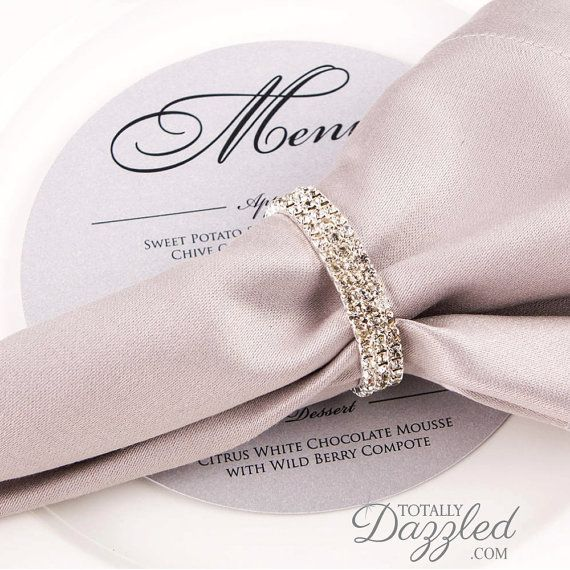 10pc Silver Napkin Ring Rhinestone Stretch Loop Wedding Rings Bulk Wholesale 801 S N
