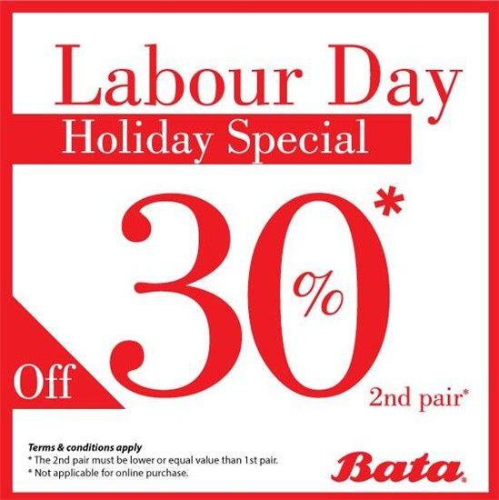 29 Apr-2 May 2016: Bata Labour Day Holiday Special Promotion