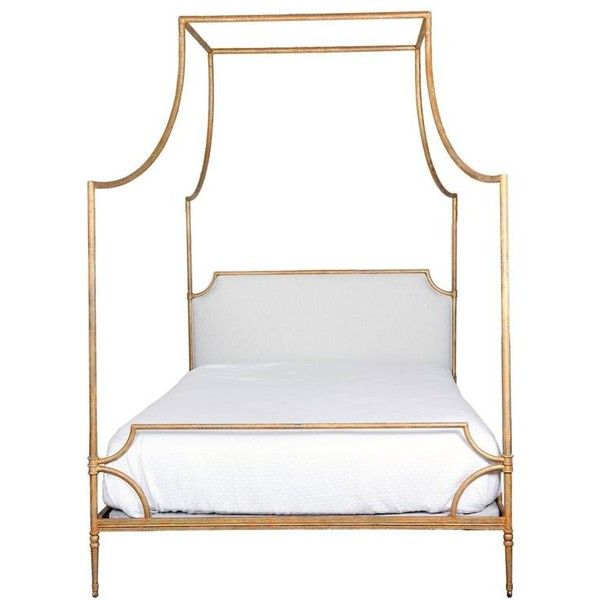 Niermann Weeks Loire Canopy Bed ❤ liked on Polyvore featuring home, furniture, beds, queen bed, queen furniture, gold leaf furniture, queen head board and queen canopy bed