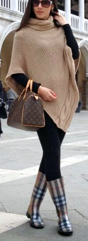 Beige Poncho with Burberry Plaid Rainboots nd Louis Vuitton Bag | Street Style