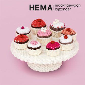 ClubGeluk haakpatroon gehaakte cupcakes voor HEMA #crochet #haken