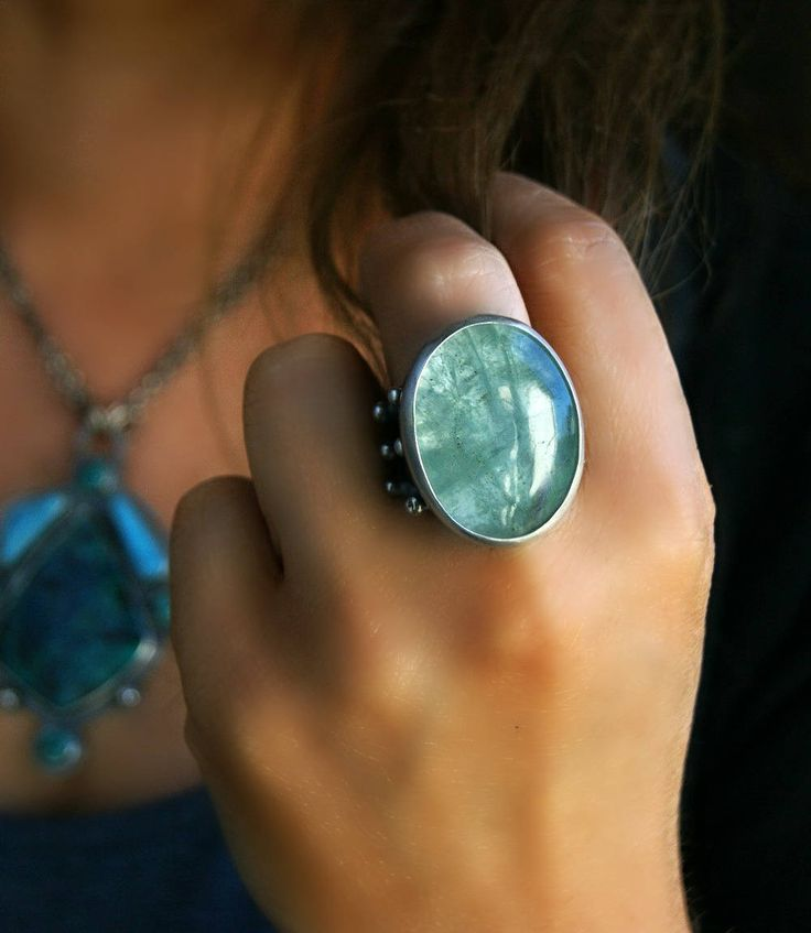 Pool of Tranquility - Aquamarine Sterling Silver Ring by MercuryOrchid on Etsy